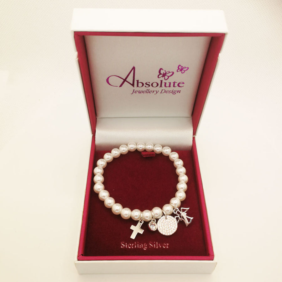 Angel Pearls Children Sterling Silver Communion Bracelet - Eva Victoria