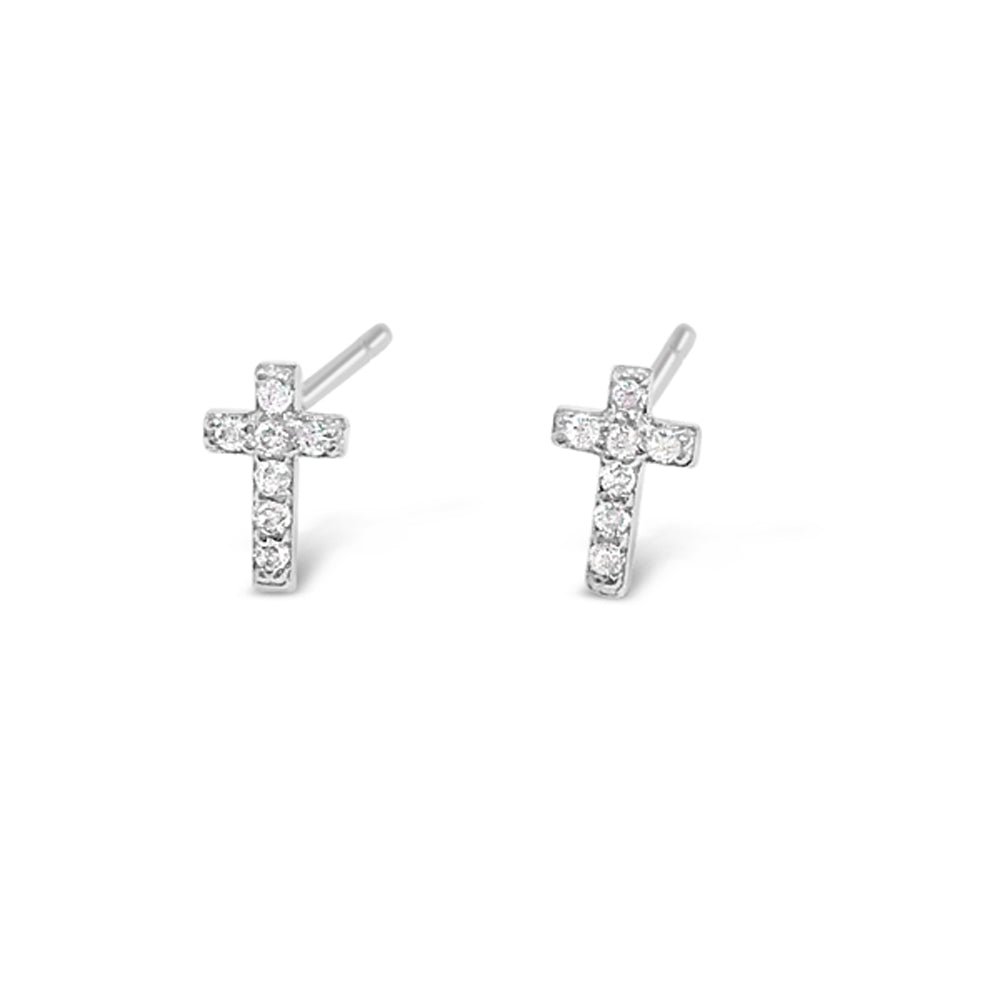 Emma Children Sterling Silver Cross Earrings
