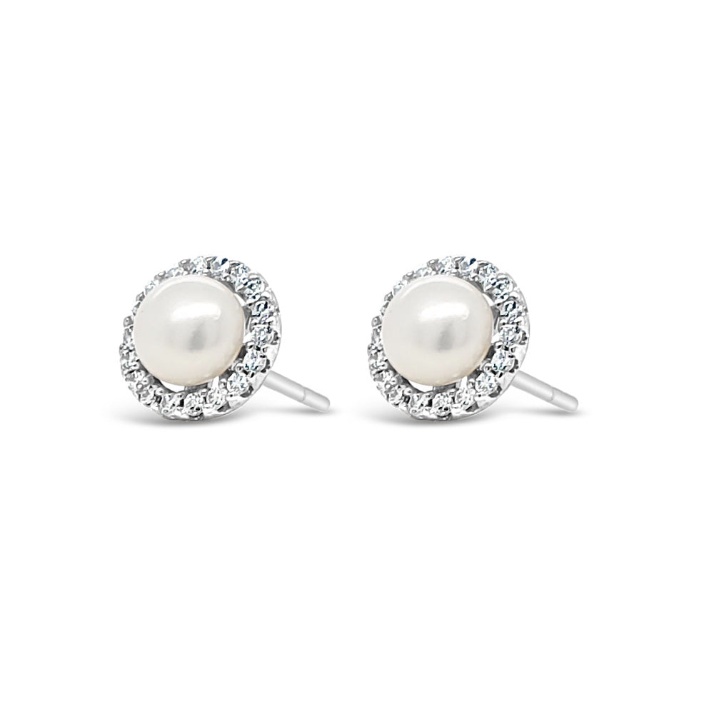 Holly Children Sterling Silver Pearl Earrings