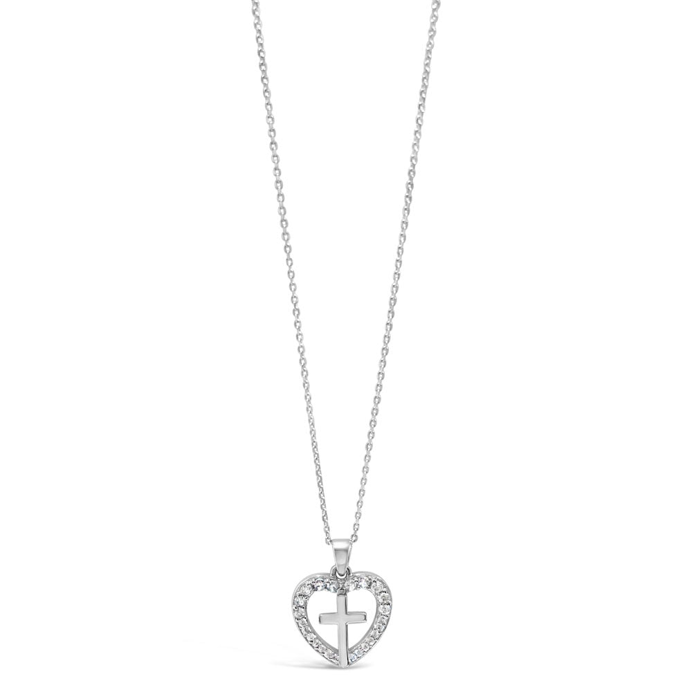 Charm Heart Children Sterling Silver Cross Pendant