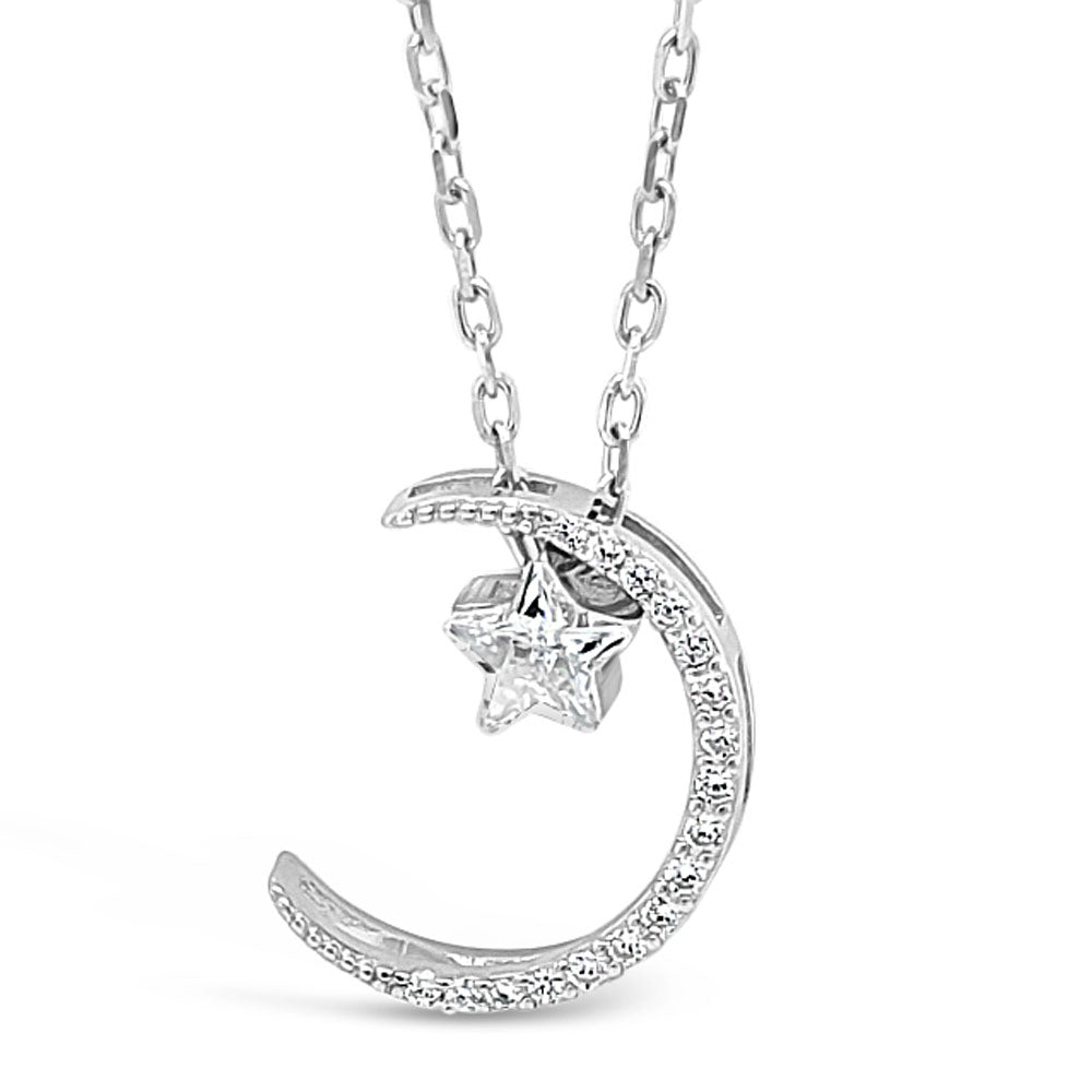 Moon And Star Children Sterling Silver Pendant