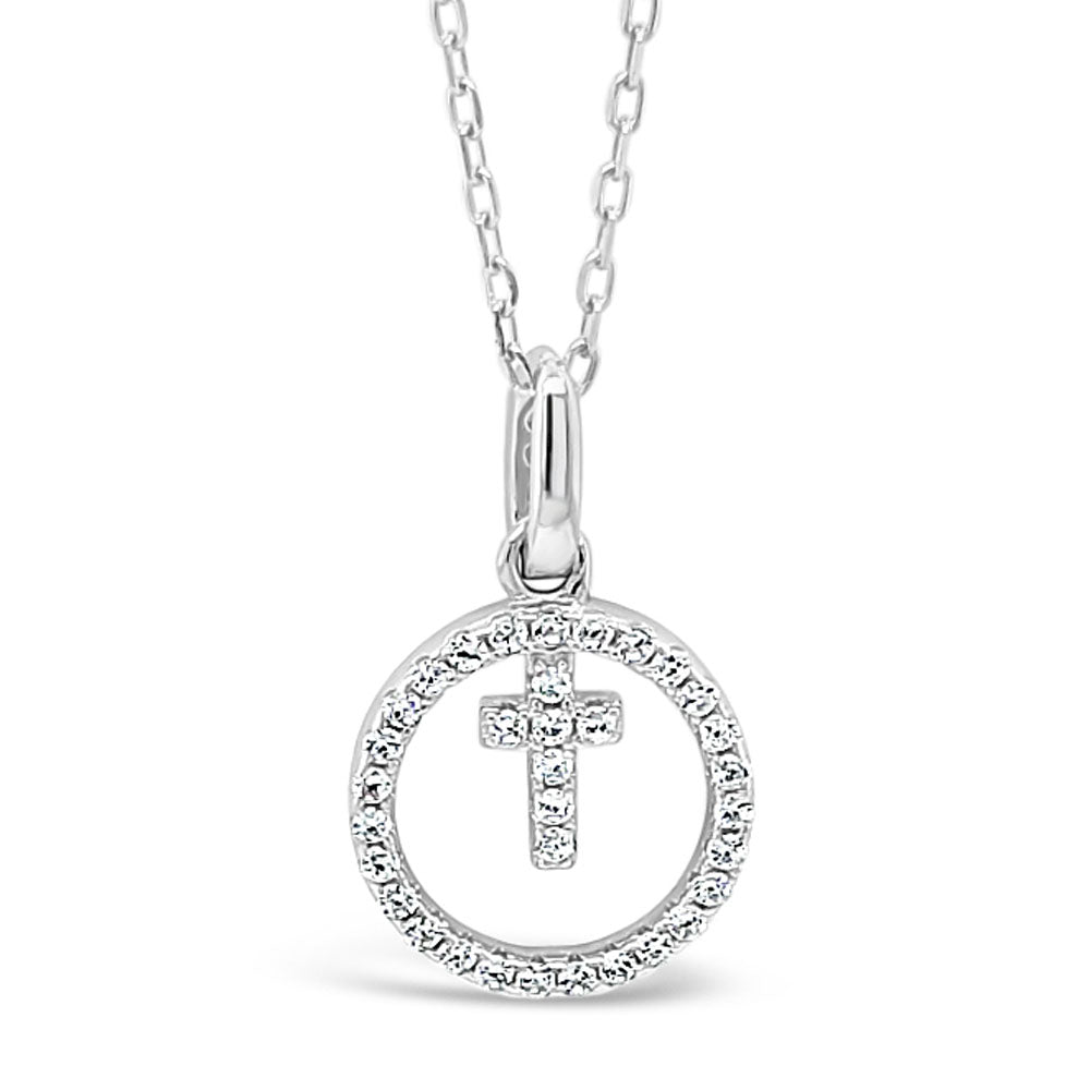 Serena Children Sterling Silver Cross Circle Pendant