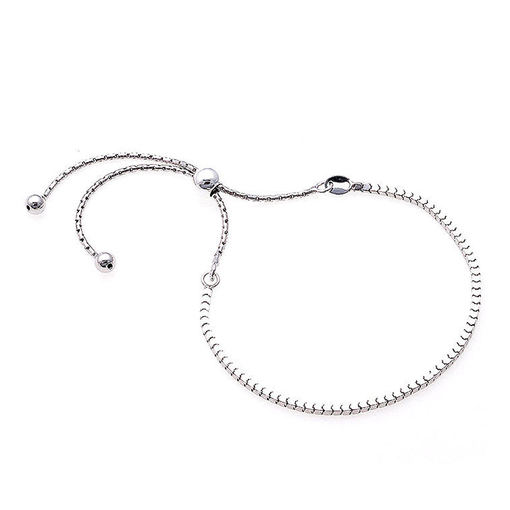 Erin Sterling Silver Box Links Adjustable Bracelet