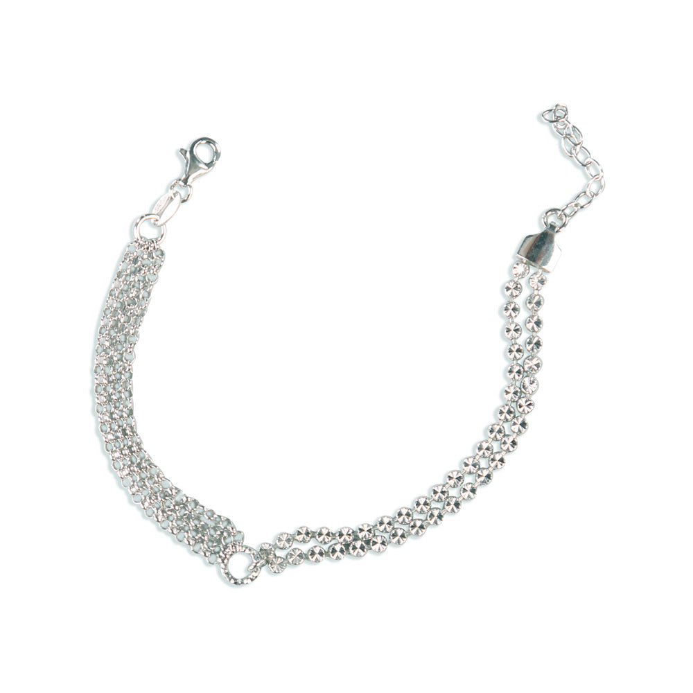 Sarah Multilayered Diamond Cut Sterling Silver Bracelet