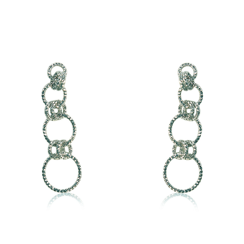 Mireille Sterling Silver Circle Strand Stud Earrings