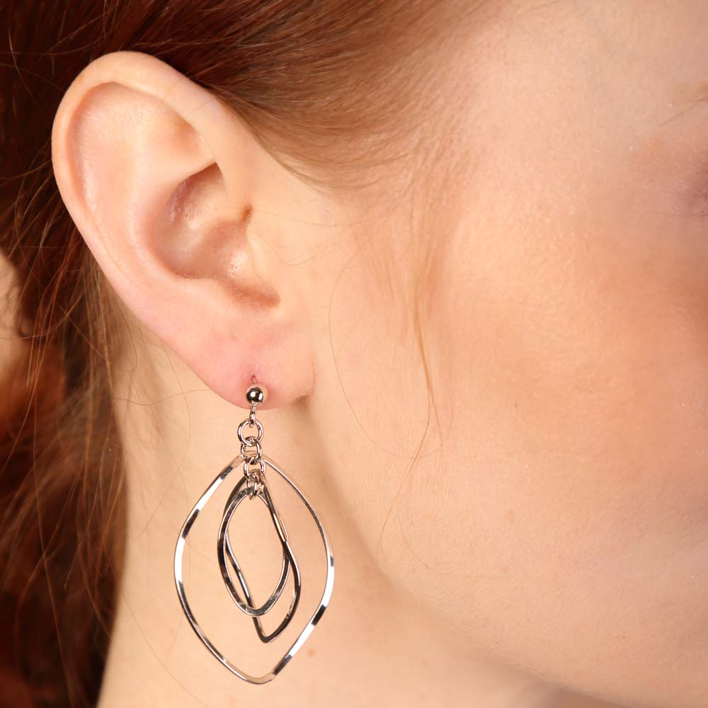 Aubrey Multilayered Sterling Silver Drop Earrings - Eva Victoria