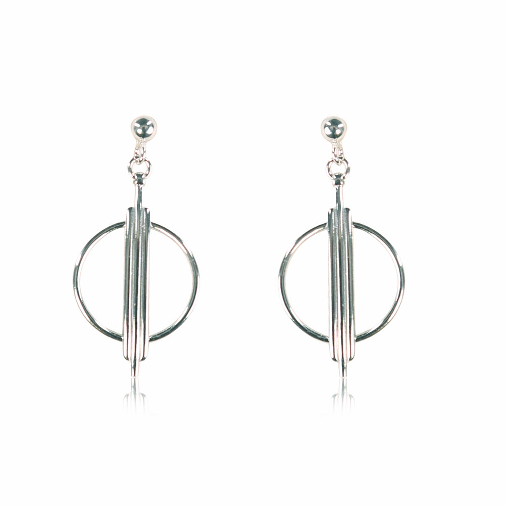 Christina Circle Sterling Silver Drop Earrings