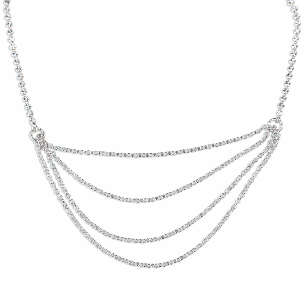 Sarah Multilayered Diamond Cut Sterling Silver Necklace