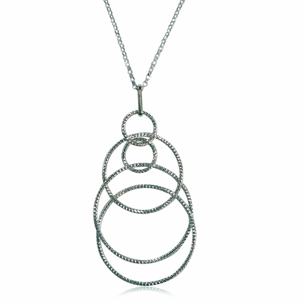 Mireille Sterling Silver Circle Strand Necklace