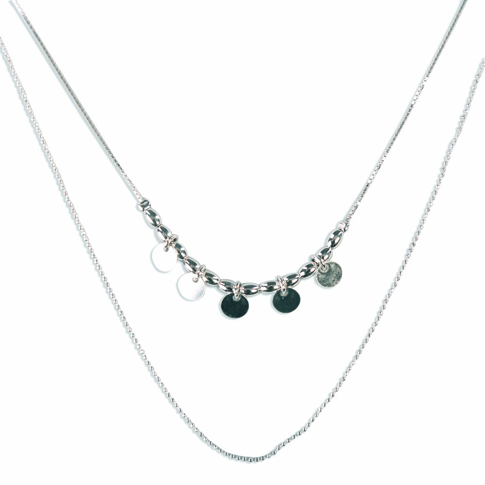 Amelia Multilayered Double Strand Sterling Silver Necklace