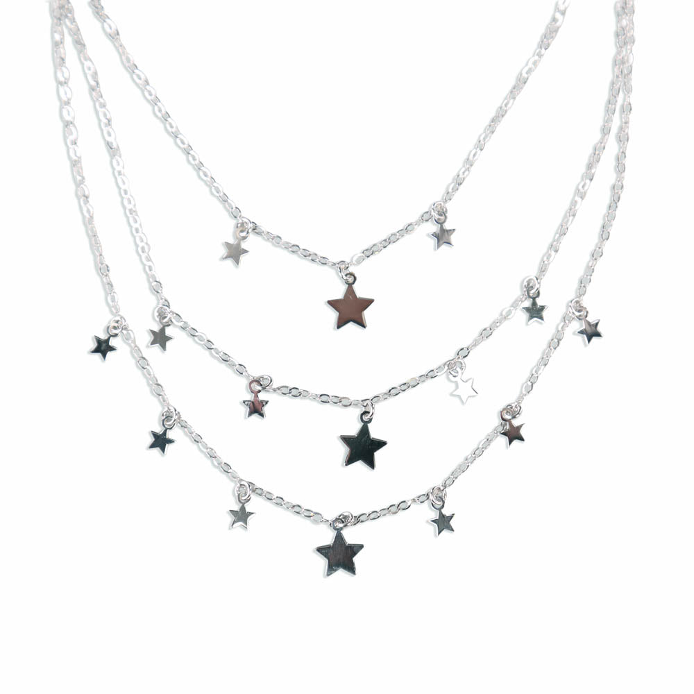 Starry Night Multilayered Sterling Silver Necklace
