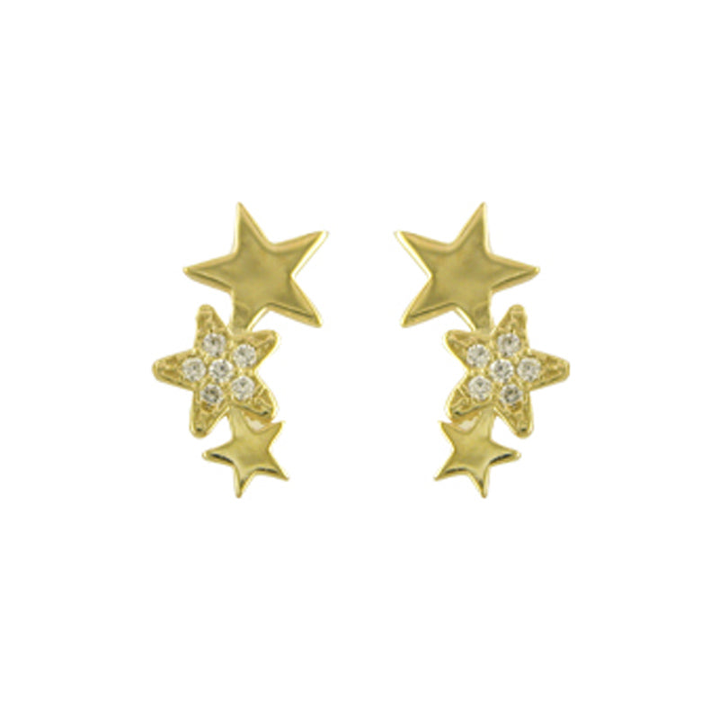 9ct Yellow Gold 3 Star Cubic Zirconia Ear Climber Stud Earrings