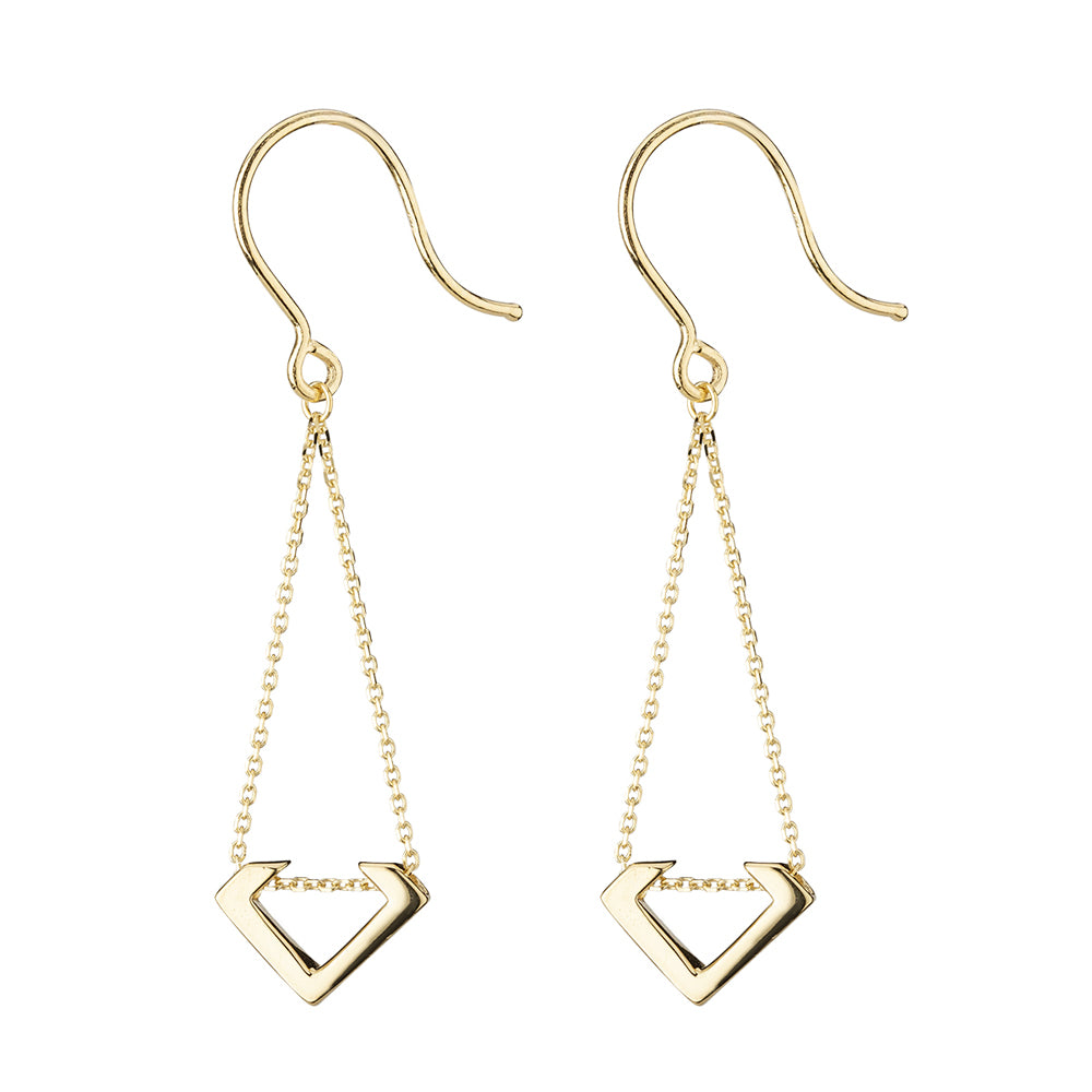 9ct Yellow Gold Hammered Open Tear Shape Drop Earrings