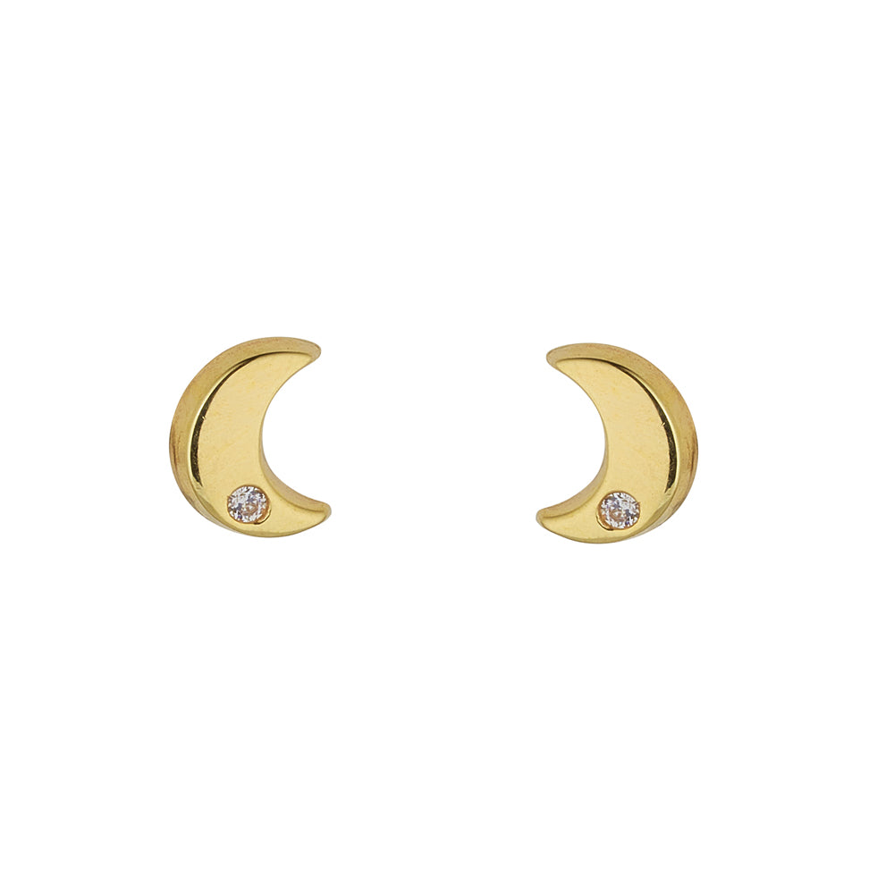 9ct Yellow Gold Diamante Cut Moon Stud Earring