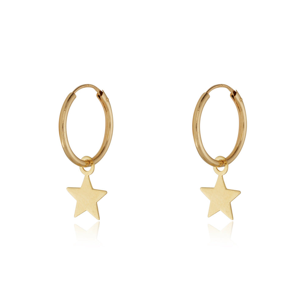 9ct Yellow Gold Hoop Earrings with Star Drop