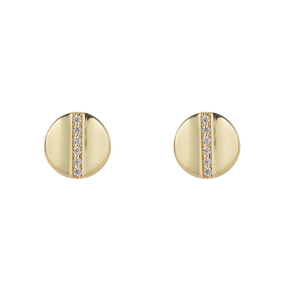 9ct Yellow Gold Button Diamante Stud Earrings