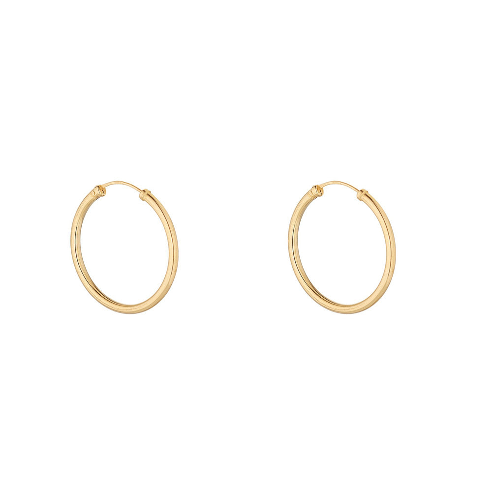 9ct Yellow Gold 25mm Sleeper Hoop Earring