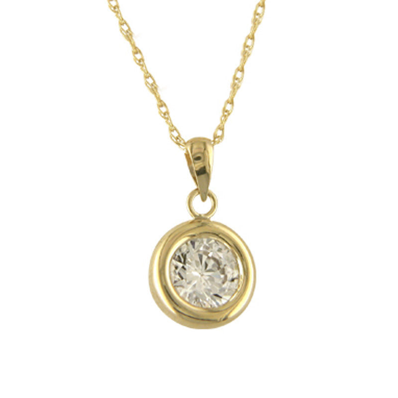 9ct Yellow Gold Diamante Walled Pendant