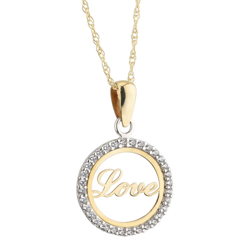 9ct Yellow Gold Love Diamante Zirconia Pendant