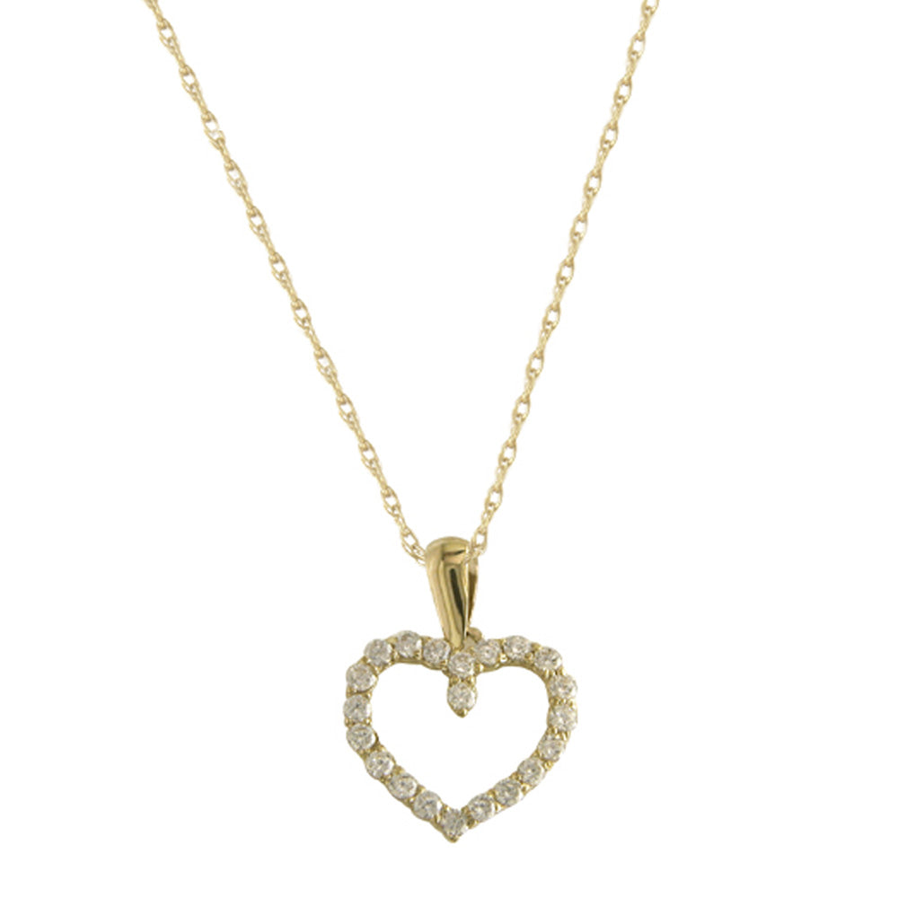 9ct Yellow Gold Diamante Set Heart Pendant