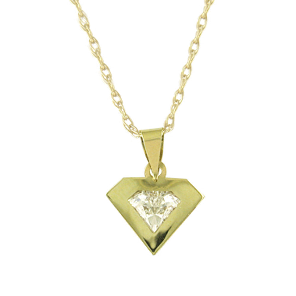 9ct Yellow Gold Imprisoned Diamante Pendant