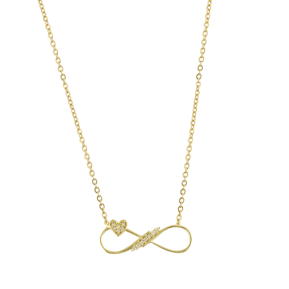 "9ct Yellow Gold Cubic Zirconia Set ""Heart"" Infinity Necklace"