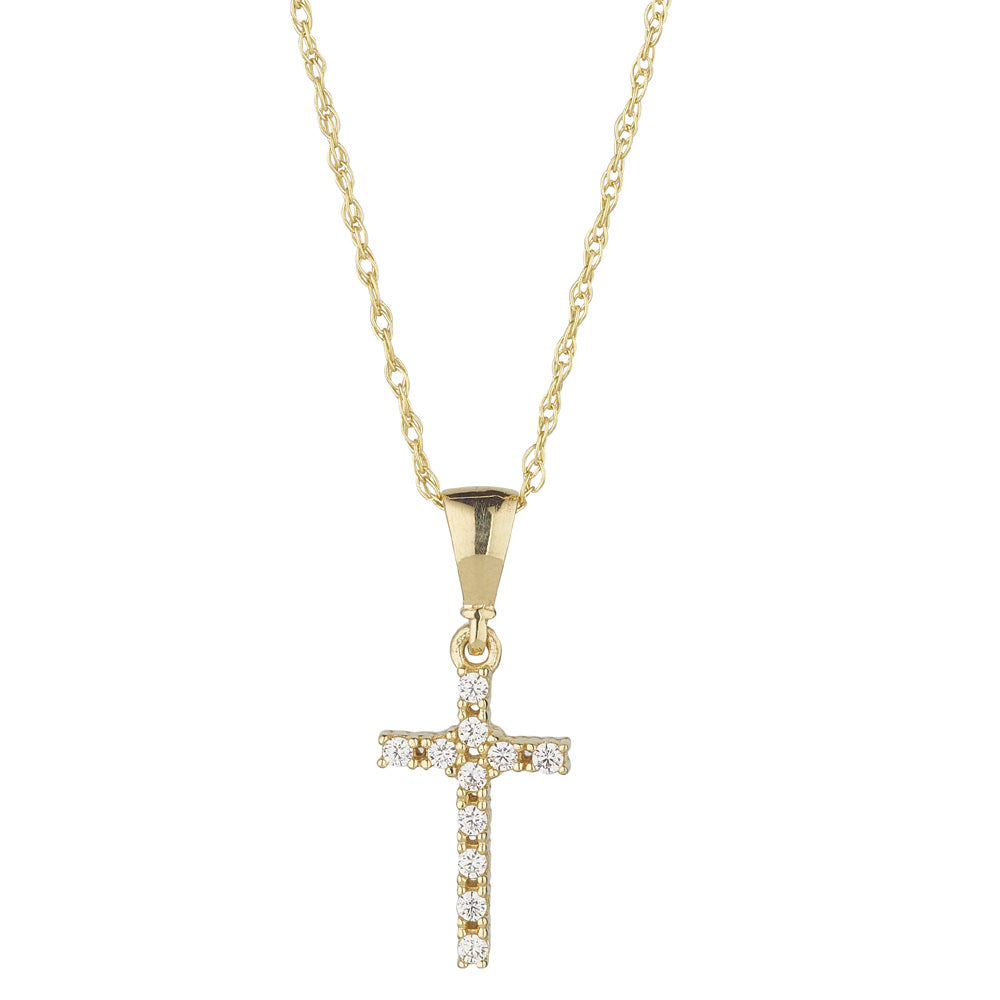 9ct Yellow Gold Cubic Squared Diamonte Cross Pendant