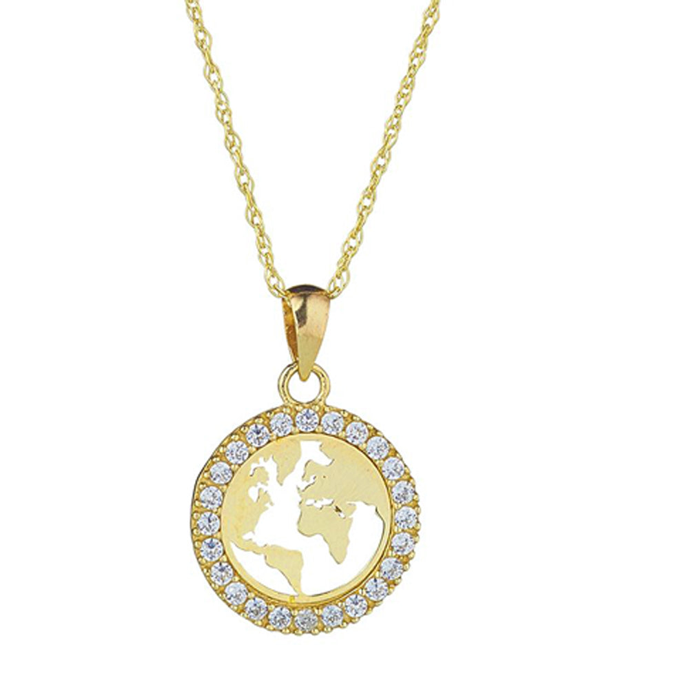 9ct Yellow Gold Map of the World Cubic Pendant