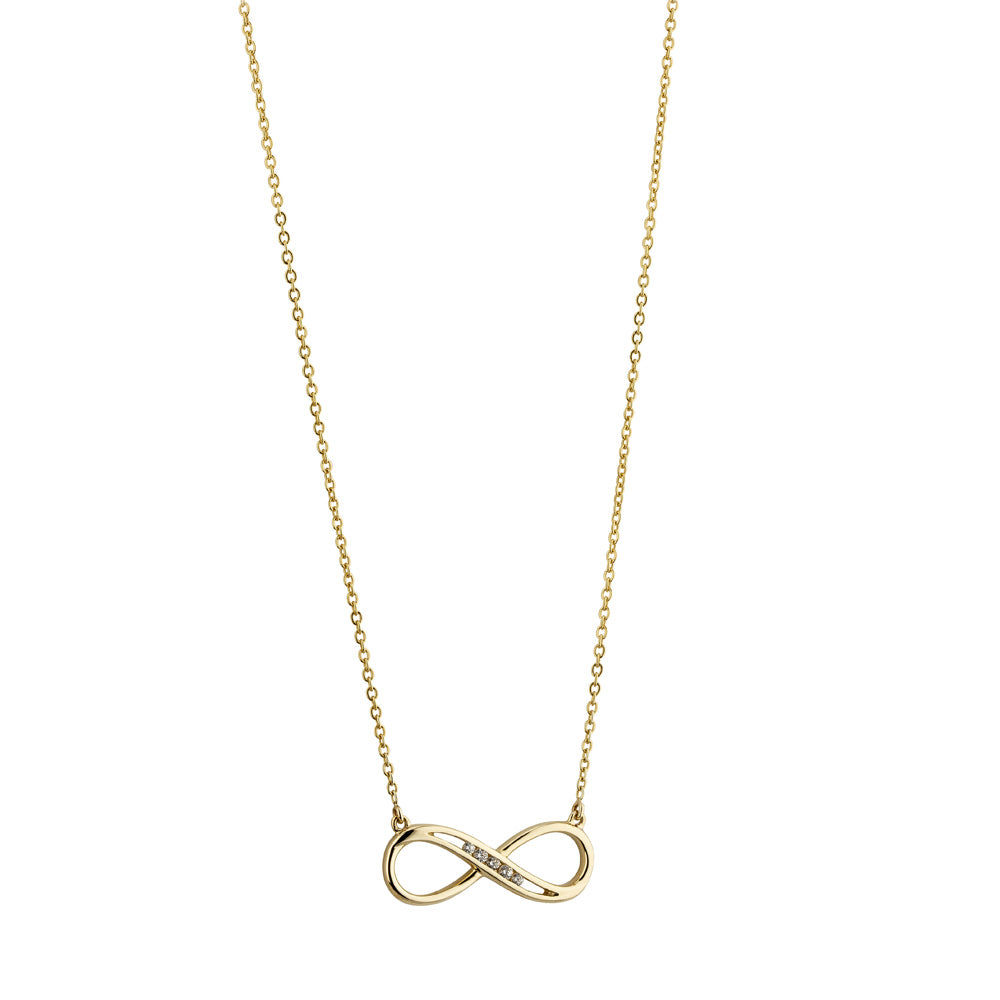 9ct Yellow Gold Cubic Zirconia Set Infinity Necklace