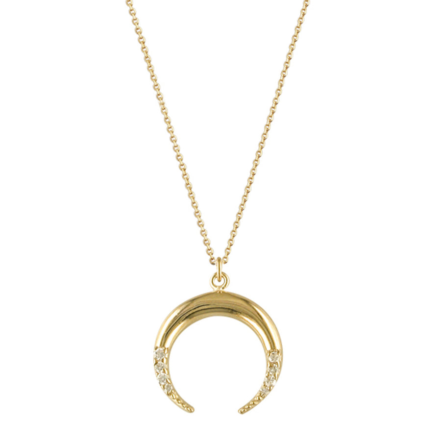 9ct Yellow Gold Cubic Set Chloe Horn Necklace