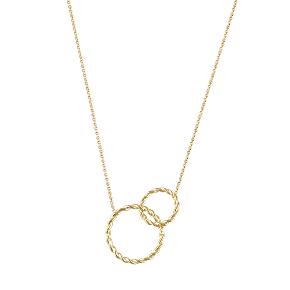 9ct Yellow Gold Roped Interlocking Circle Necklace