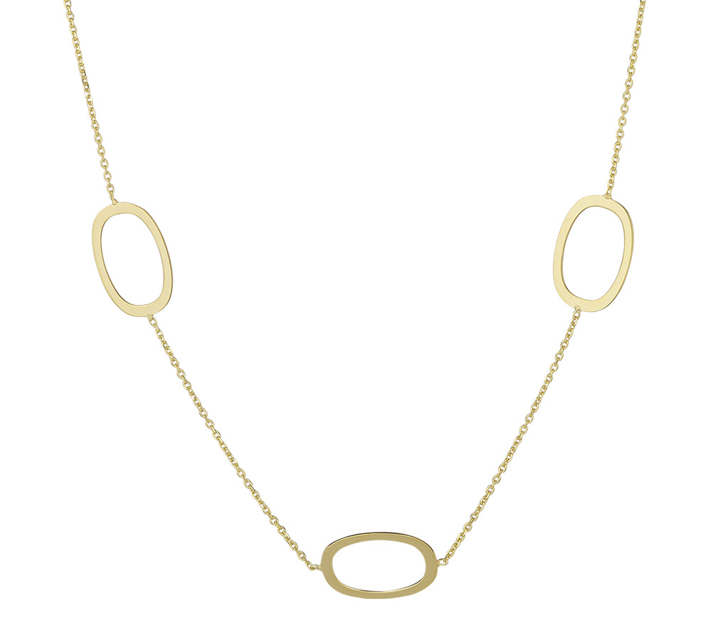 9ct Yellow Gold 5 Oval Necklace