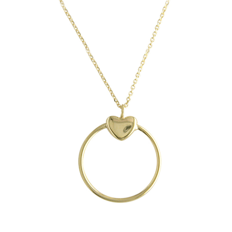 9ct Yellow Gold Heavy Heart Disk Pendant