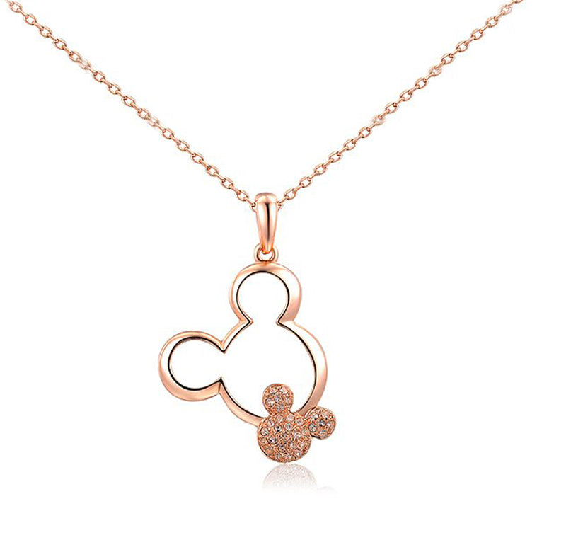 Minnie Mouse Inspired Diamante Rose Gold Pendant