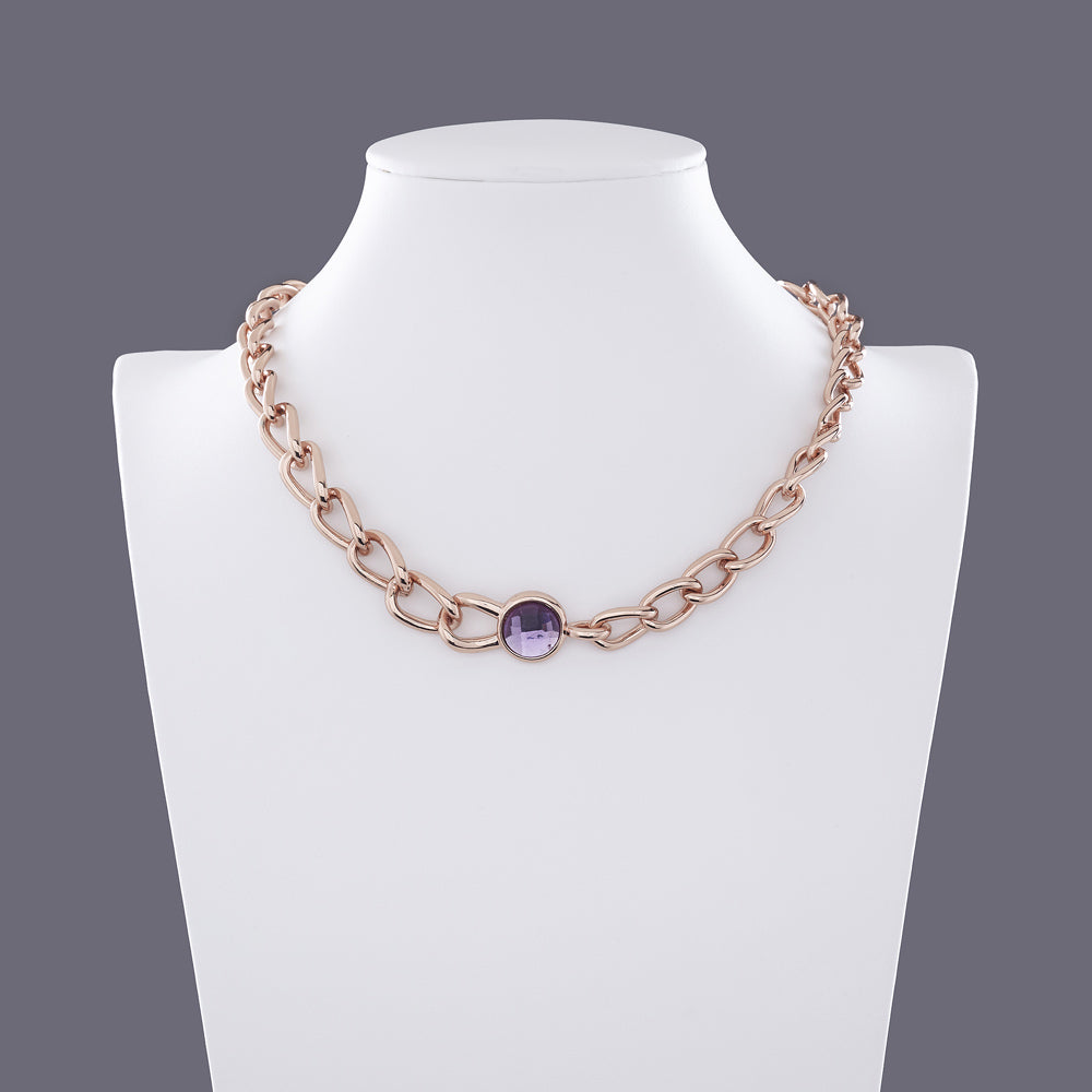 Alana Purple Sapphire Diamante Rose Gold Chain Necklace - Eva Victoria