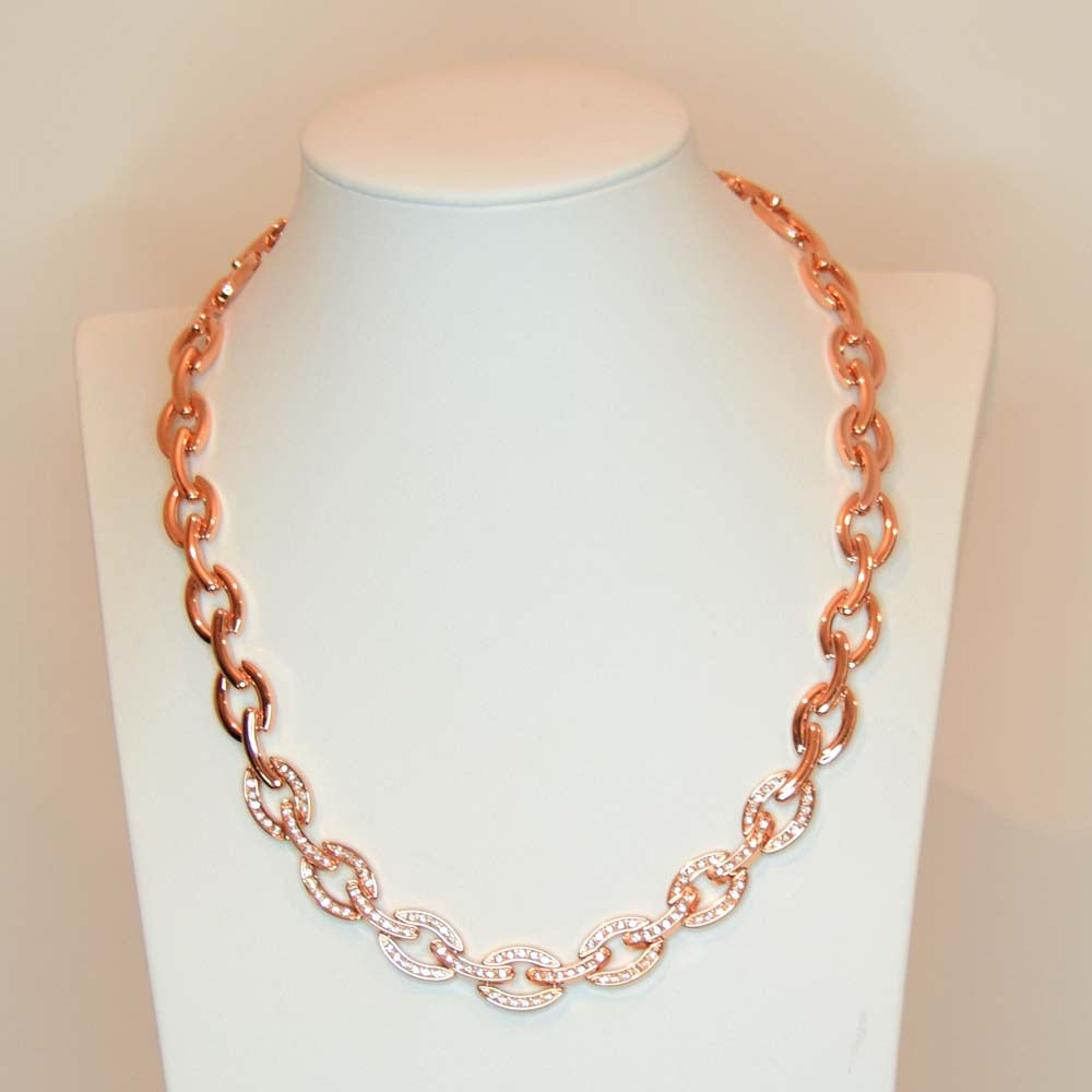 Allia Oval Diamante Rose Gold Chain Necklace - Eva Victoria