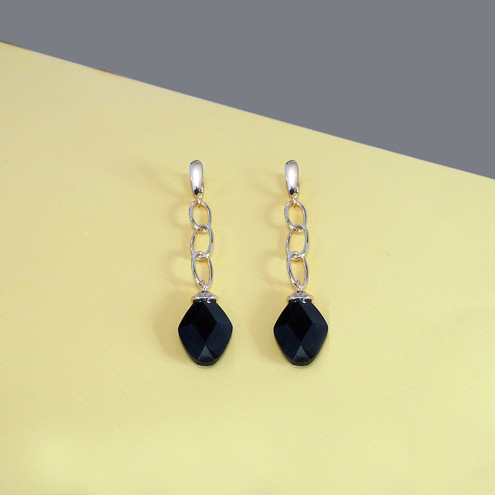 Black Onyx Rose Gold Statement Drop Earrings - Eva Victoria