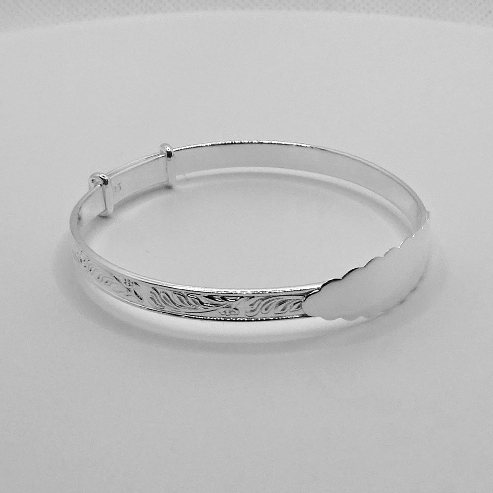 Baby Bangle Sterling Silver Floral Christening Bracelet
