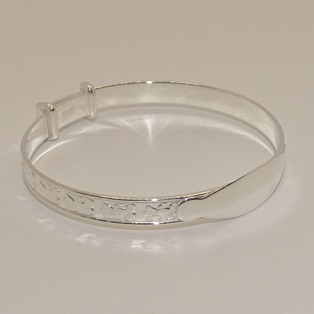 Baby Bangle Teddy Bear Sterling Silver Christening Bracelet