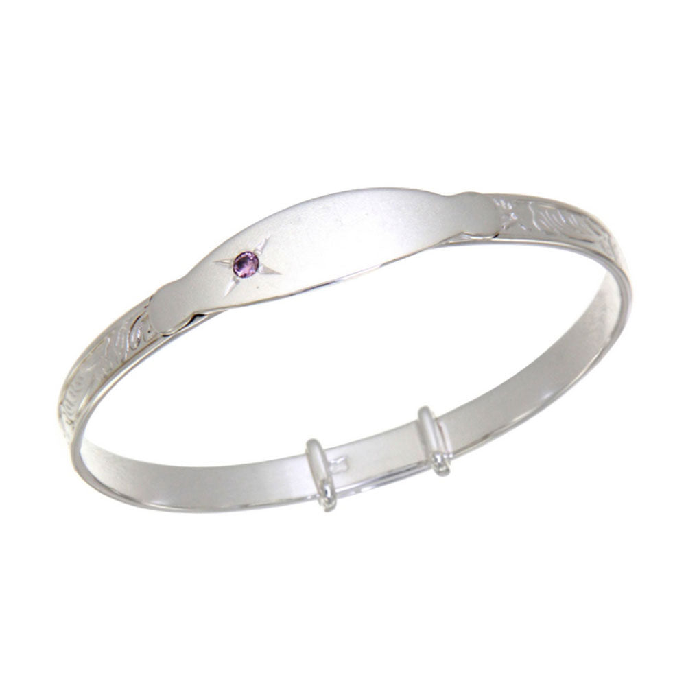 Baby Bangle Sterling Silver Pink Stone Christening Bracelet