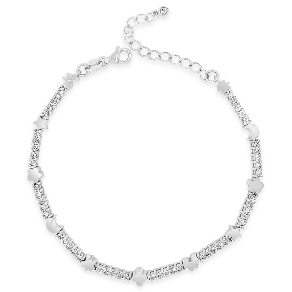 Moon & Stars Crystal Sterling Silver Charms Tennis Bracelet