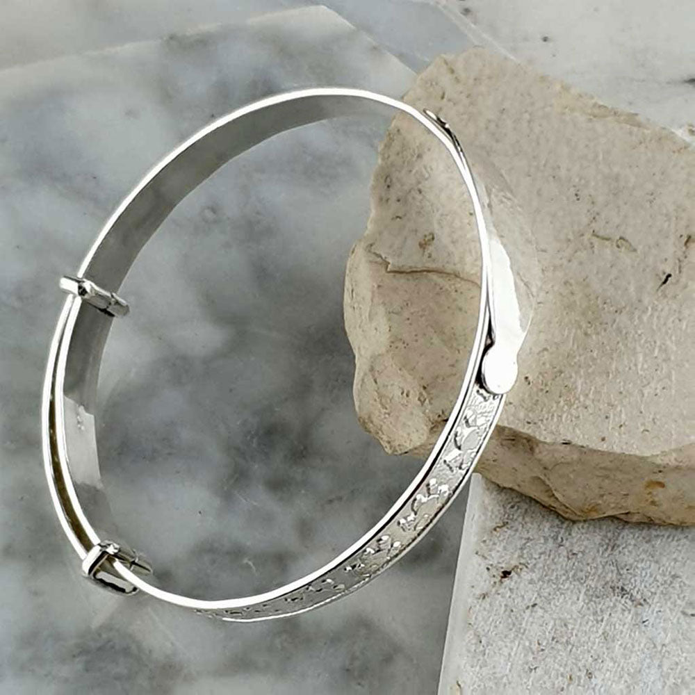 Baby Bangle Teddy Sterling Silver Clear Stone Christening Bracelet