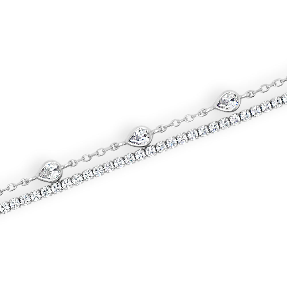 Melody Crystal Sterling Silver Double Tennis Bracelet