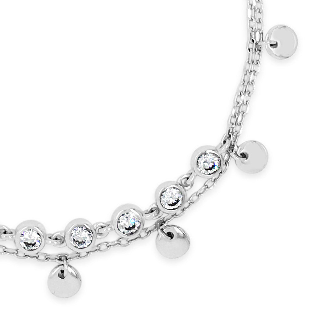 Talia Crystal Sterling Silver Charms Double Bracelet