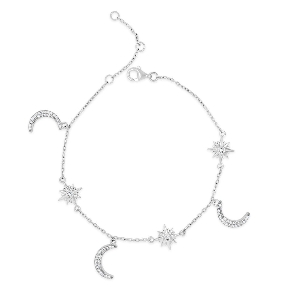 Moon & Stars Crystal Sterling Silver Charms Bracelet
