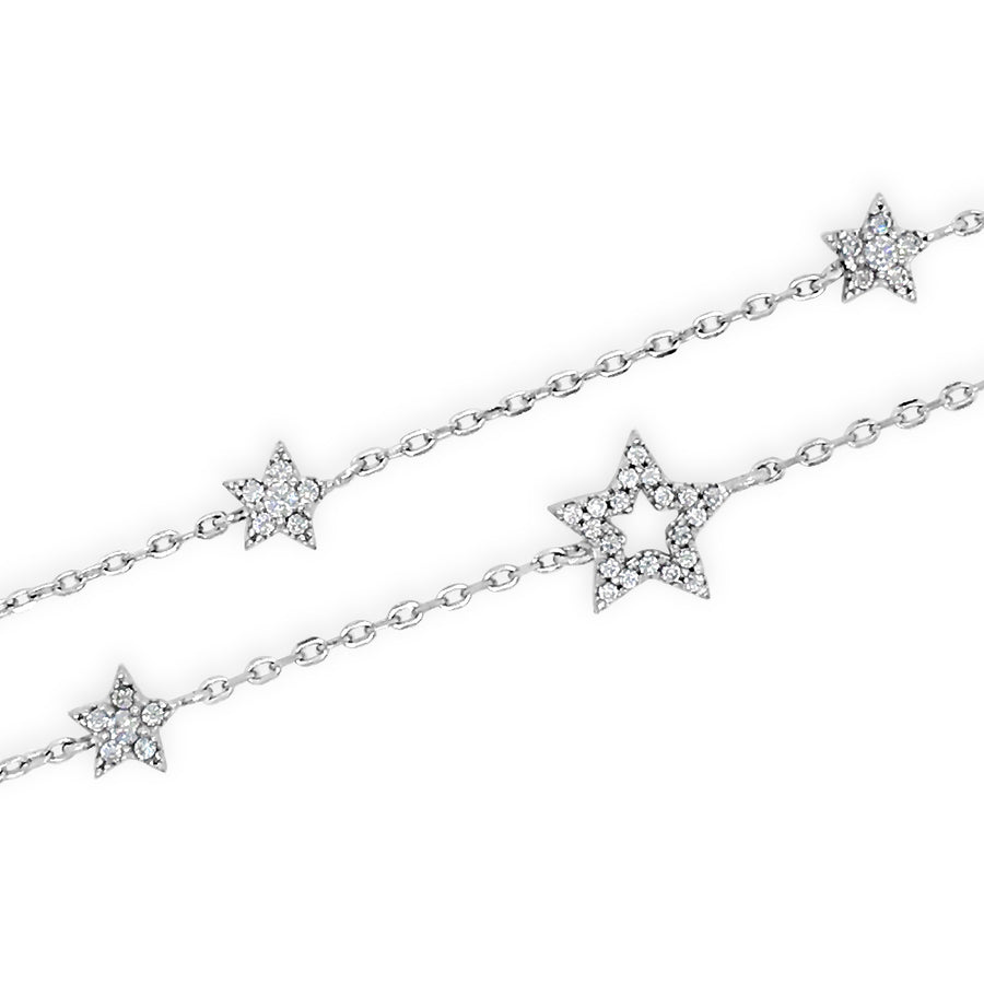 Stars Light Crystal Sterling Silver Double Bracelet