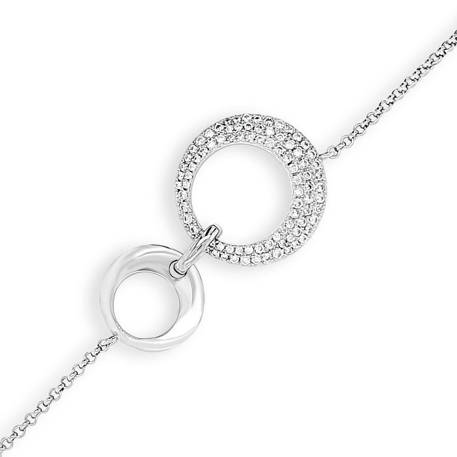 Double Circle Crystal Sterling Silver Bracelet