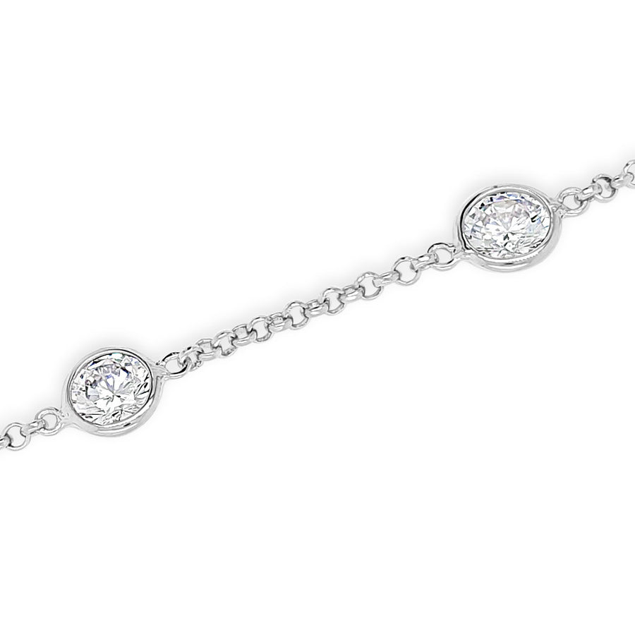 Willow Oval Crystals Delicate Sterling Silver Bracelet