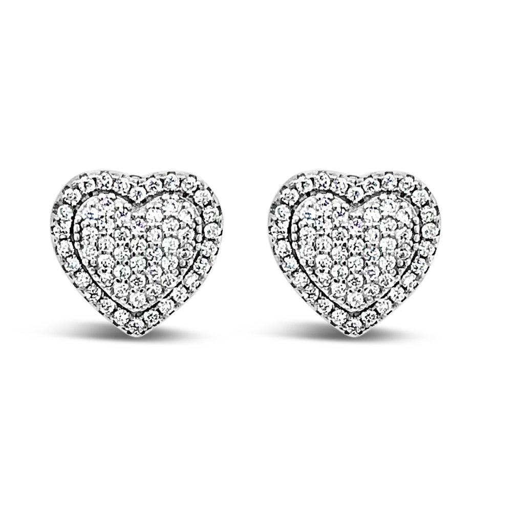 Lilian Diamante Hearts Sterling Silver Stud Earrings