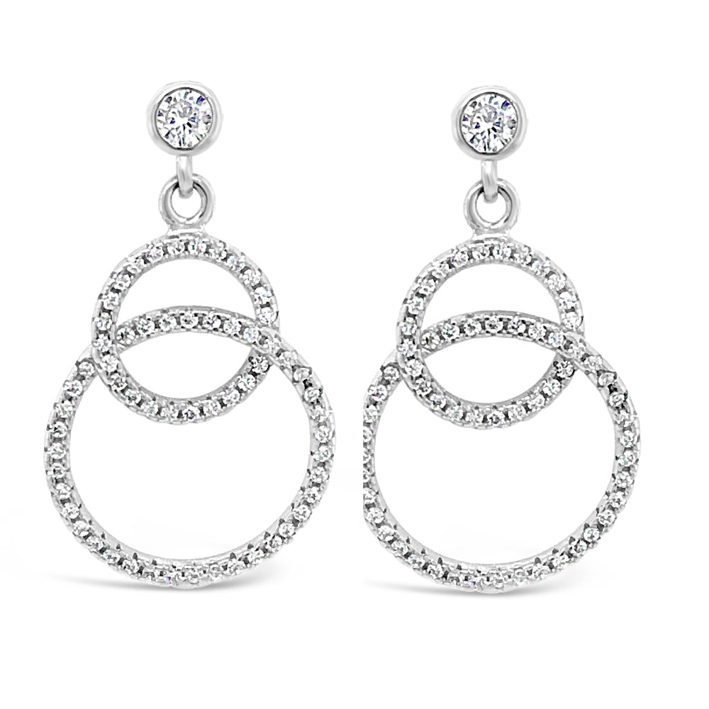 Two Circles Diamante Sterling Silver Drop Earrings